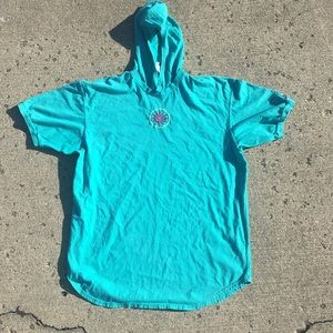 90s Nike Turquoise Hooded T-Shirt